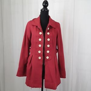 Anthro knitted dove red sz L tapered pea coat